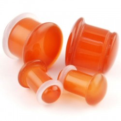 Red Agate Single Flared Stone Plugs