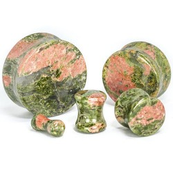 Unakite Double Flared Stone Plugs